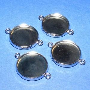 Medál alap (128/A minta/1 db), Gyöngy, ékszerkellék,  Kombinált medál alap (128/A minta) - kerek - platinum színben  Az alkatrészből medált és karkötőt e..., Meska