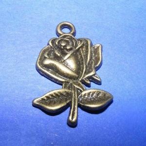 Medál (521. minta/1 db) - rózsa, Gyöngy, ékszerkellék, Ékszerkészítés, \nMedál (521. minta) - rózsa - antik bronz színben\n\nMérete: 26x18x3 mmAz ár 1 db termékre vonatkozik...., Meska