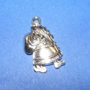 Medál (682/A minta/1 db) - télapó, Gyöngy, ékszerkellék, Ékszerkészítés,  Medál (682/A minta) - télapó - antik ezüst színű  Mérete: 25x15 mm  Az ár egy darab termékre vonat..., Alkotók boltja