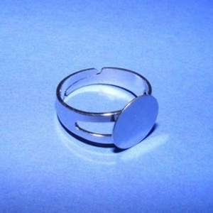 Gyűrű alap (27. minta/1 db), Gyöngy, ékszerkellék,  Gyűrű alap (27. minta) - ragasztható - nikkel színbenNagyobb karika méretű, vastagabb ujjra  Mérete..., Meska