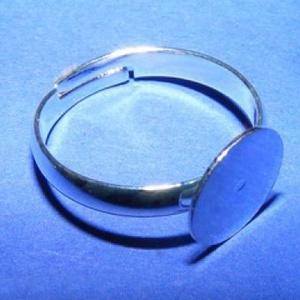 Gyűrű alap (30. minta/1 db), Gyöngy, ékszerkellék,  Gyűrű alap (30. minta) - ragasztható - ezüst színben  Mérete: 18 mm (tárcsa mérete: 9 mm)  Az ár eg..., Meska