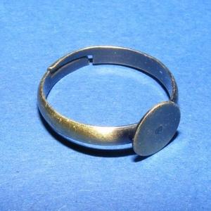 Gyűrű alap (37. minta/1 db), Gyöngy, ékszerkellék, Ékszerkészítés,  Gyűrű alap (37. minta) - ragasztható - antik bronz színbenGyermek méret  A karika átmérő: 14 mmA t..., Alkotók boltja