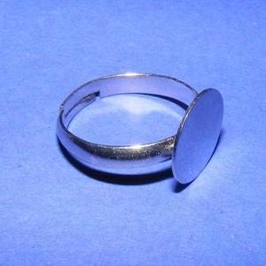 Gyűrű alap (41. minta/1 db), Gyöngy, ékszerkellék, Ékszerkészítés, \nGyűrű alap (41. minta) - nikkel színben\n\nMérete: 17 mm (karika); 12 mm (fej)\r\nA karika szélessége: ..., Meska