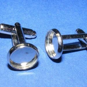 Mandzsettagomb alap (158/C minta/2 db), Gomb, Varrás, \nMandzsettagomb alap (158/C minta) - platinum színben\n\nA gomb mérete: 18 mm (a teljes hosszúság)\r\nA ..., Meska
