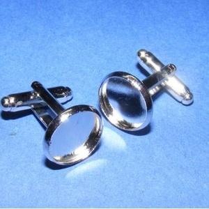 Mandzsettagomb alap (158/D minta/2 db), Gomb, Varrás, \nMandzsettagomb alap (158/D minta) - platinum színben\n\nA gomb mérete: 27 mm (a teljes hosszúság)\r\nA ..., Meska