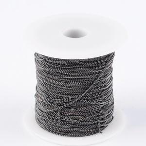 Gunmetál-fekete színű lánc (1. minta/1 m) - 2x1x0,35 mm , Gyöngy, ékszerkellék,  Gunmetál-fekete színű lánc (1. minta)  A szem mérete: 2x1x0,35 mm  A feltüntetett ár 1 méter láncra..., Meska