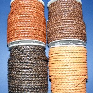 Fonott bőrszíj - 5 mm (9. minta/0,5 m) - antik sötétbarna (csimbo) - Meska.hu