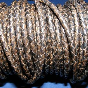 Fonott bőrszíj - 4 mm (1. minta/0,5 m) - antik fekete, Egyéb alapanyag, Vegyes alapanyag, Bőrművesség, \nFonott bőrszíj (1. minta) - antik fekete\n\nValódi bőr alapanyagból készült fonott, hengeres szíj.Átm..., Meska