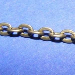 Bronz színű lánc (30. minta/1 m) - 3x2x0,6 mm (csimbo) - Meska.hu