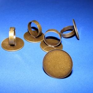 Gyűrű alap (67/A minta/1 db) - antik bronz, Gyöngy, ékszerkellék,  Gyűrű alap (67/A minta) - ragasztható - antik bronz színben- nikkel-, ólom- és kadmiummentes -  Kar..., Meska