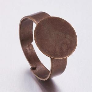 Gyűrű alap (38/A minta/1 db) - antik vörösréz, Gyöngy, ékszerkellék,  Gyűrű alap (38/A minta) - ragasztható - antik vörösréz színben  A karika átmérő: 18 mmA tárcsa átmé..., Meska