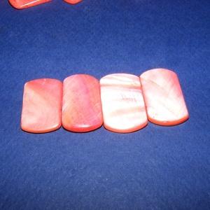 Fúrt kagyló ékszer alap (81. minta/4 db) - piros - gyöngy, ékszerkellék - Meska.hu