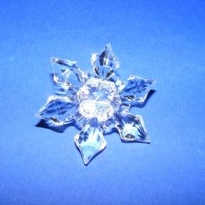 Akril gyöngy-63 (1 db) - átlátszó hópehely, Gyöngy, ékszerkellék, Gyöngy,   Akril gyöngy-63 - hópehely - átlátszó  Mérete: 45x12 mmFurat mérete: 2 mm  Az ár 1 darab termékre..., Alkotók boltja