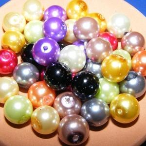 Viaszgyöngy-50 (Ø 10 mm/~ 40 db) - mix, Gyöngy, ékszerkellék, Gyöngy,  Viaszgyöngy-50 - vegyes színek  Méret: Ø 10 mmFurat: 1 mm  A csomag tartalma: kb. 40 db viaszgyöng..., Alkotók boltja