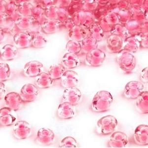 Kásagyöngy-65 (2 mm/100 g) - rágógumi rózsaszín/színtelen, Gyöngy, ékszerkellék,  Kásagyöngy-65 - fényes - festett közepű - színtelen - távol-keleti gyöngy  Belül: rágógumi rózsaszí..., Meska