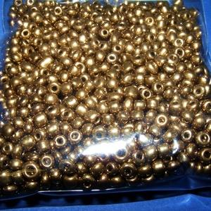 Kásagyöngy-30 (2 mm/100 g) - metál antik arany, Gyöngy, ékszerkellék,  Kásagyöngy-30 - fényes - metál antik arany - fémhatású - távol-keleti gyöngy  Anyaga: üvegMérete: 2..., Meska