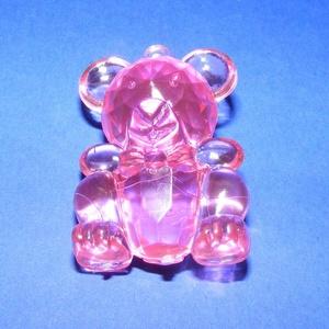 Szélcsengő tartozék (1 db) - akril maci - rózsaszín, Vegyes alapanyag,  Szélcsengő tartozék - akril maci - rózsaszín    Mérete: 4,5x3 cm  Kék és lila színben is rendelhe..., Meska