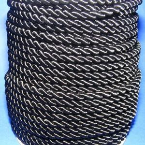 Sodrott zsinór - 6 mm (ZS1S/1 m) - fekete, Gyöngy, ékszerkellék, Ékszerkészítés, \nSodrott zsinór (ZS1S) - fekete\n\nSzínes nylon sodrott zsinórAjánlott karkötők, nyakláncok készítéséh..., Meska
