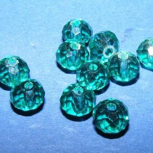 Csiszolt üveggyöngy-19 (4x6 mm/10 db) - emerald (csimbo) - Meska.hu