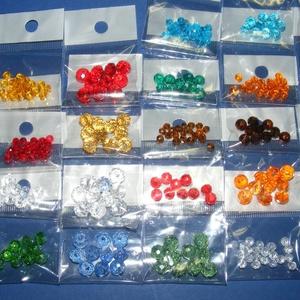 Csiszolt üveggyöngy-32 (6x6 mm/15 db) - színtelen gyémánt (csimbo) - Meska.hu
