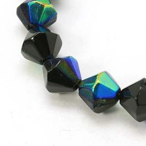Csiszolt üveggyöngy-51 (6x6 mm/15 db) - irizáló fekete gyémánt (csimbo) - Meska.hu