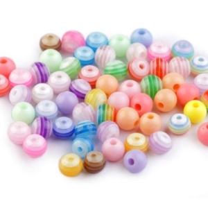 Mintás gyöngy-2 (Ø 8 mm/10 db) - rózsaszín csíkos gömb (csimbo) - Meska.hu