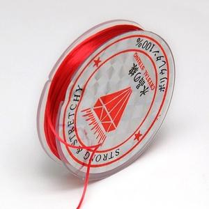 Gumis damil (Ø 0,6 mm/~ 10 m) - piros, Gyöngy, ékszerkellék,  Gumis damil - pirosKiváló minőségű, rugalmas, fűzésre alkalmas damil.Mérete: Ø 0,6 mmA tekercsen kb..., Meska