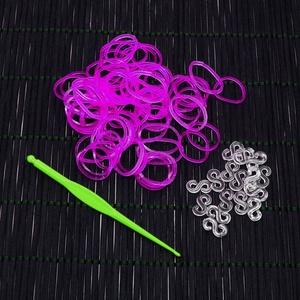 Gumigyűrű-27 (~260 db/csomag) - fluoreszkáló átlátszó lila, Vegyes alapanyag, Mindenmás, \nGumigyűrű-27 - fluoreszkáló átlátszó lila\n\nKarkötő készítésére alkalmas készlet, mely a következő t..., Meska
