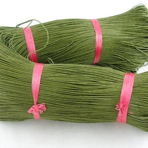 Viaszos szál-25 (5 db/csomag) - olivazöld - gyöngy, ékszerkellék - Meska.hu