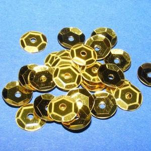 Flitter-5 (3 g/csomag) - aranysárga (kerek), Gyöngy, ékszerkellék, Varrás, \nFlitter-5 - aranysárga - kerek\n\nMérete: Ø 6-7 mmA furat mérete: 1 mm\n\nKiszerelés: 3 g (kb. 210 db)..., Meska