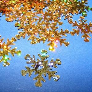 Flitter-34 (3 g/csomag) - hologramos arany (hópehely) - gyöngy, ékszerkellék - Meska.hu