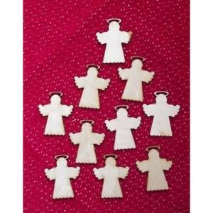 Karácsony  (8.minta/1 db) - kicsi angyal, Fa, Egyéb fa, \nKarácsony (8.minta/1 db) - kicsi angyal\n\r\n\r\n\nMérete: 25x30 mmAnyaga: natúr rétegelt lemezAnyagvast..., Meska