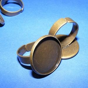 Gyűrű alap (63/AB minta/1 db) - antik bronz, Gyöngy, ékszerkellék,  Gyűrű alap (63/AB minta) - ragasztható - antik bronz színben  Mérete: Karika átmérő: 18 mm; széless..., Meska