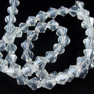 Csiszolt üveggyöngy-33 (4x4 mm/20 db) - színtelen gyémánt (csimbo) - Meska.hu