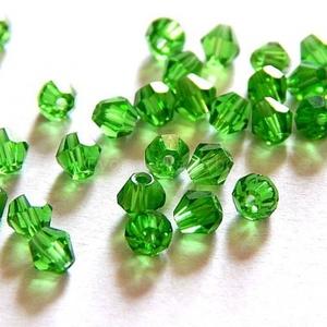 Csiszolt üveggyöngy-39 (4x4 mm/20 db) - zöld gyémánt (csimbo) - Meska.hu