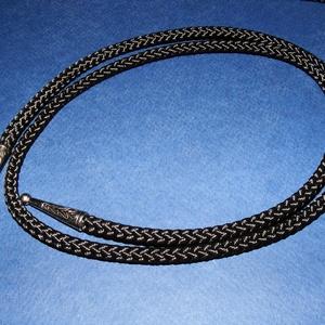 Amerikai nyakkendőzsinór véggel (1 db) - fekete/platinum (csimbo) - Meska.hu