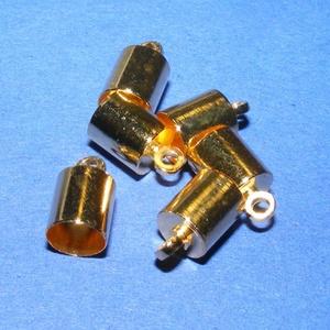 Bőrvég (32 minta/1 db) - 12x8 mm, Gyöngy, ékszerkellék, Ékszerkészítés, \nBőrvég (32 minta) - arany színben\n\nMérete: 12x8 mm Belső átmérő: 7 mmA csatlakozó furat mérete: 1 ..., Meska