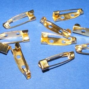 Kitűző alap (399. minta/1 db) - 20 mm, Gyöngy, ékszerkellék,  Kitűző alap (399. minta) - ragasztható, fűzhető, varrható - arany színben  Mérete: 20x5 mm  Az ár e..., Meska