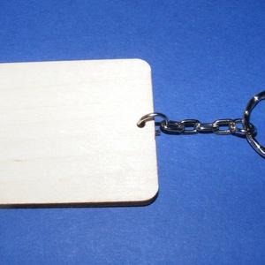 Fa kulcstartó-2 (60x45 mm/1 db) - téglalap (csimbo) - Meska.hu