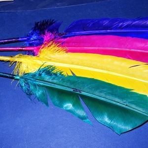 Dekorációs indián toll-112 (4 db) - magenta, lila, sárga, zöld  (csimbo) - Meska.hu