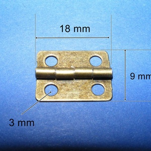 Zsanér (22. minta/1 db) - 18x9 mm, Csat, karika, zár, Mindenmás, \n\nZsanér (22. minta) - antik bronz színben\n\nA zsanér mérete: 18x9 mmA furat mérete: 3 mm\n\nAz ár egy ..., Meska