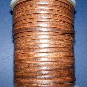 Lapos bőrszíj - 5x2 mm (2. minta/1 m) - antik sötétbarna (csimbo) - Meska.hu