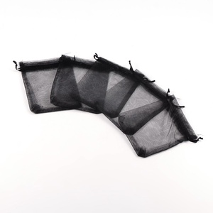 Organzatasak (10x12 cm/1 db) - fekete, Textil,  Organzatasak (10x12 cm/1 db) - fekete  Organza szövetből készült anyag, jó tartású csomagolóanyag k..., Meska
