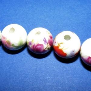 Porcelángyöngy-4 (Ø 12 mm/5 db) - mix, Gyöngy, ékszerkellék,  Porcelángyöngy-4 - mix  Mérete: Ø 12 mmFurat: 3 mm  A csomag tartalma: 5 db porcelángyöngy. Az ár e..., Meska