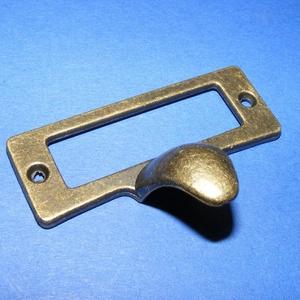 Fém fogantyú-16 (1 db) - antik bronz, Csat, karika, zár, Mindenmás, \nFém fogantyú-16 - antik bronz - fém címkekeret és fiók/dobozfogóka\n\nMérete: 5,4x2 cm (a fogókanyúlv..., Meska