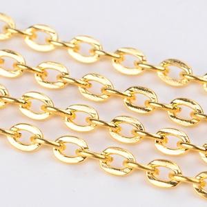 Arany színű lánc (32. minta/1 m) - 3x2x0,6 mm, Gyöngy, ékszerkellék,  Arany színű lánc (32. minta)  A szem mérete: 3x2x0,6 mm  Az ár 1 méter termékre vonatkozik.  ..., Meska