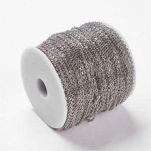 Nikkel színű lánc (35. minta/1 m) - 3x2x0,6 mm (csimbo) - Meska.hu
