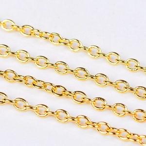 Arany színű lánc (43. minta - színtartó/1 m) - 2x1,5x0,5 mm (csimbo) - Meska.hu
