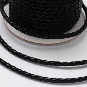 Fonott bőrszíj - 3 mm (1. minta/0,5 m) - fekete (csimbo) - Meska.hu