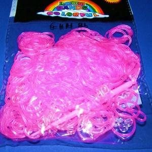 Gumigyűrű-24 (~260 db/csomag) - fluoreszkáló átlátszó pink (csimbo) - Meska.hu
